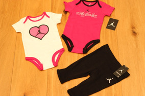 236e4630b Conjunto Bebe Jordan Niña Pañaleros Y Pantalon Rosa Blanco