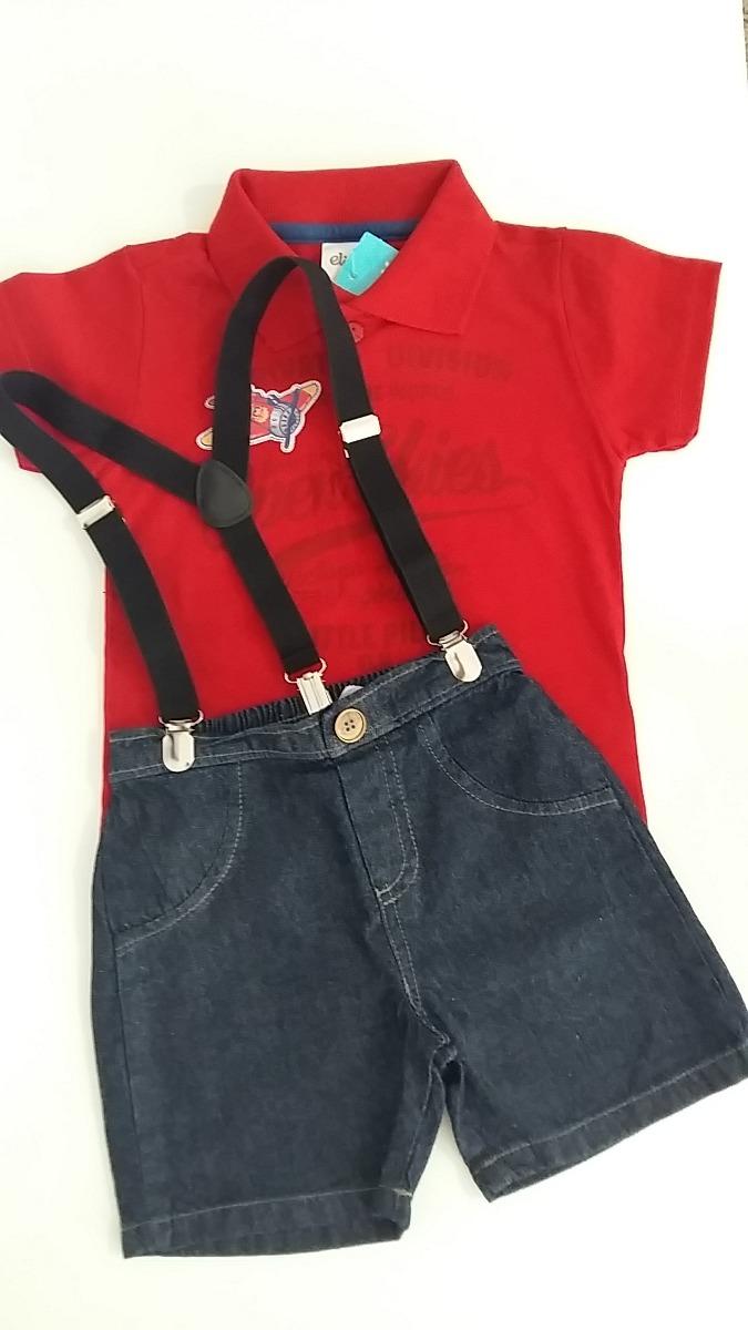 conjunto bermuda jeans com suspensório menino camisa polo. Carregando zoom. 99cf8bcf4abee