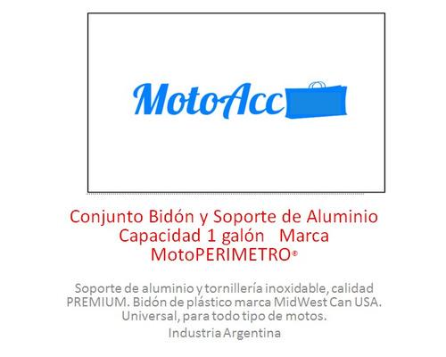 conjunto bidón y soporte de aluminio 1 galón  motoperimetro