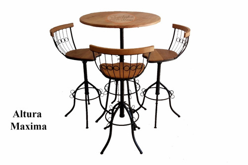 conjunto bistrô mesa + 3 banquetas charme 4.2 regulagem