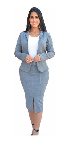 conjunto blazer e saia social moda evangélica