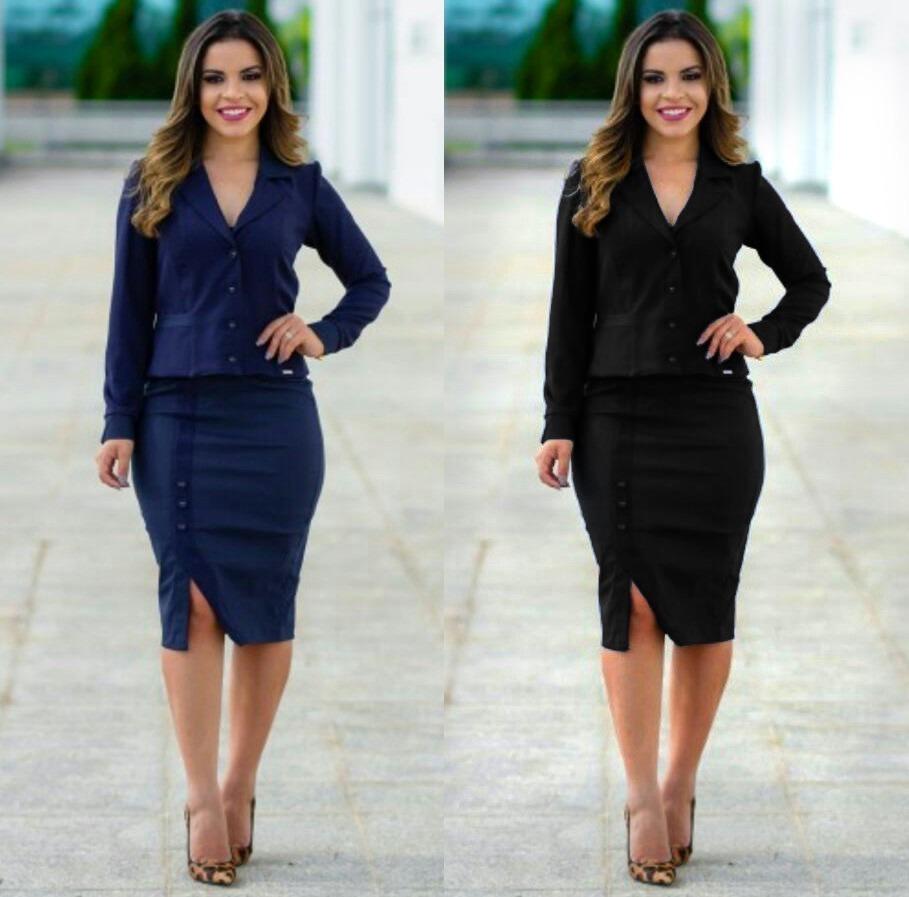 b7ea654ef9 Conjunto Blazer Social Feminino Risca De Giz Moda Evangélica - R ...