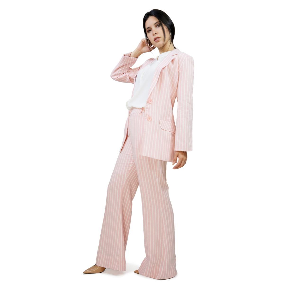 mujer y de zoom rosa Cargando de blazer a lino rayas conjunto pantalon  5XwqfzHH 8f94810bf053