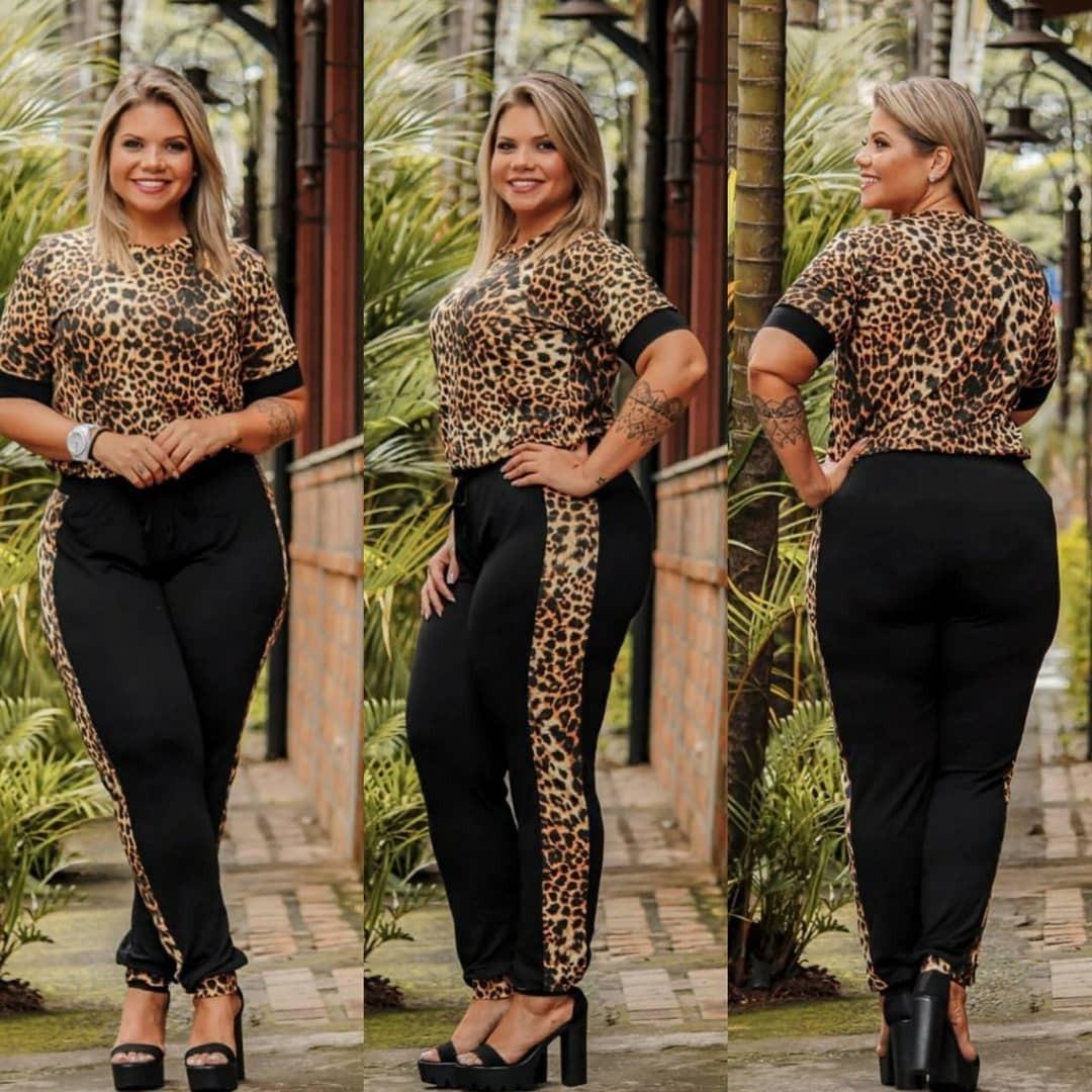 0a470df3e conjunto blusa e calça plus size animal print oncinha 46 48. Carregando  zoom.