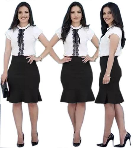 conjunto blusa rendinha e saia midi babado moda evangélica