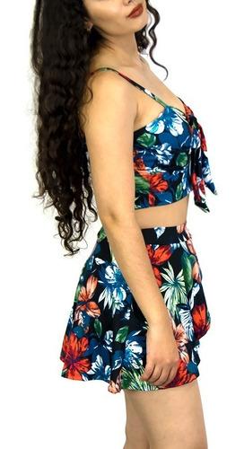 conjunto blusa short falda dama mujer 2 piezas estampado