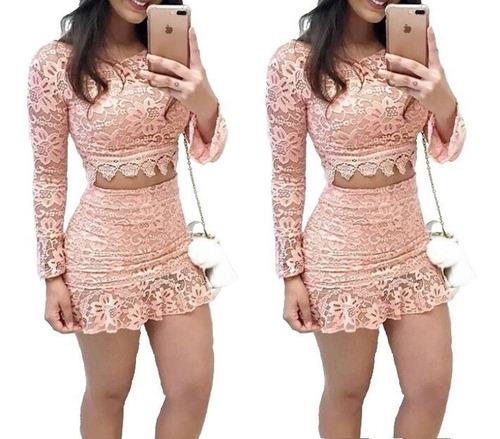 conjunto blusa top cropped e saia curta colada festa #cj21