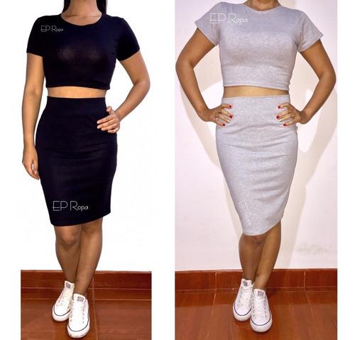 conjunto blusa y falda tubo moda juvenil casual envío gratis