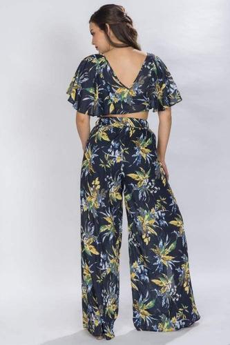 conjunto blusa y pantalon azul floreado set 2 piezas n81426