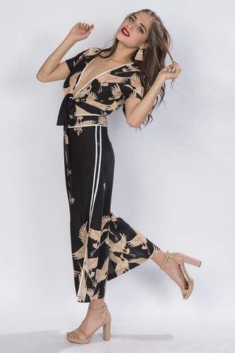conjunto blusa y pantalon estampado negro 2 piezas n81430
