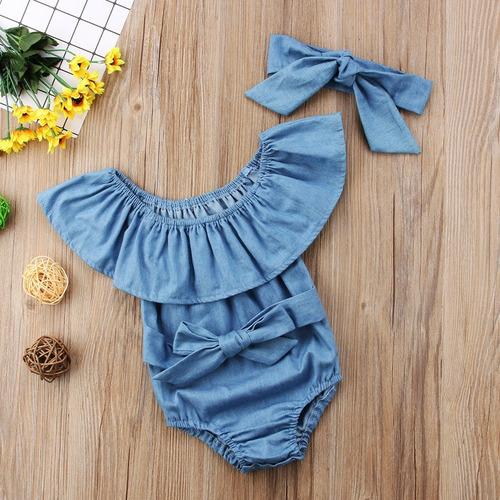 conjunto body ciganinha  bebe menina macacão jeans infantil