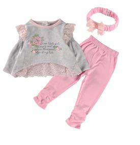 848929e76a Body Saia De Menina Rosa Com Estampa Florida · Conjunto - Blusa Calça Faixa  De Cabelo Bebê