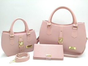 2ec872bda Bolsa Feminina Kit Com 3 Bolsas Grande Pequena Bau Carteira. 5 cores. R$ 129  90