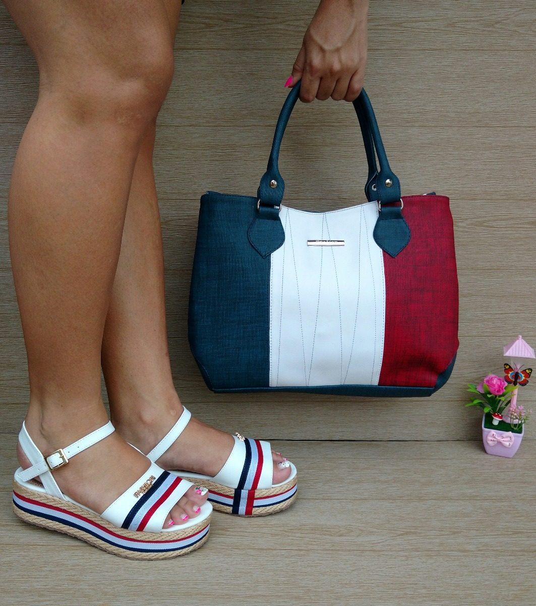 a9576be54 conjunto bolso blanco rojo azul + sandalia blanca yute moda. Cargando zoom.