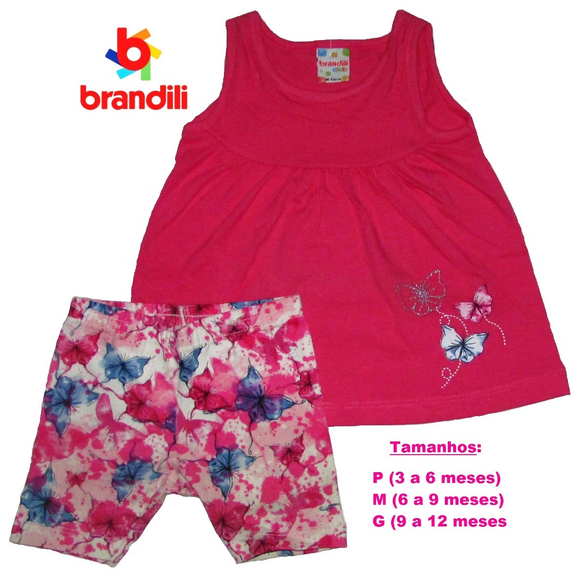 06bb2695f5 Conjunto Brandili Bebê Mini Vestido Com Bermuda - R  32