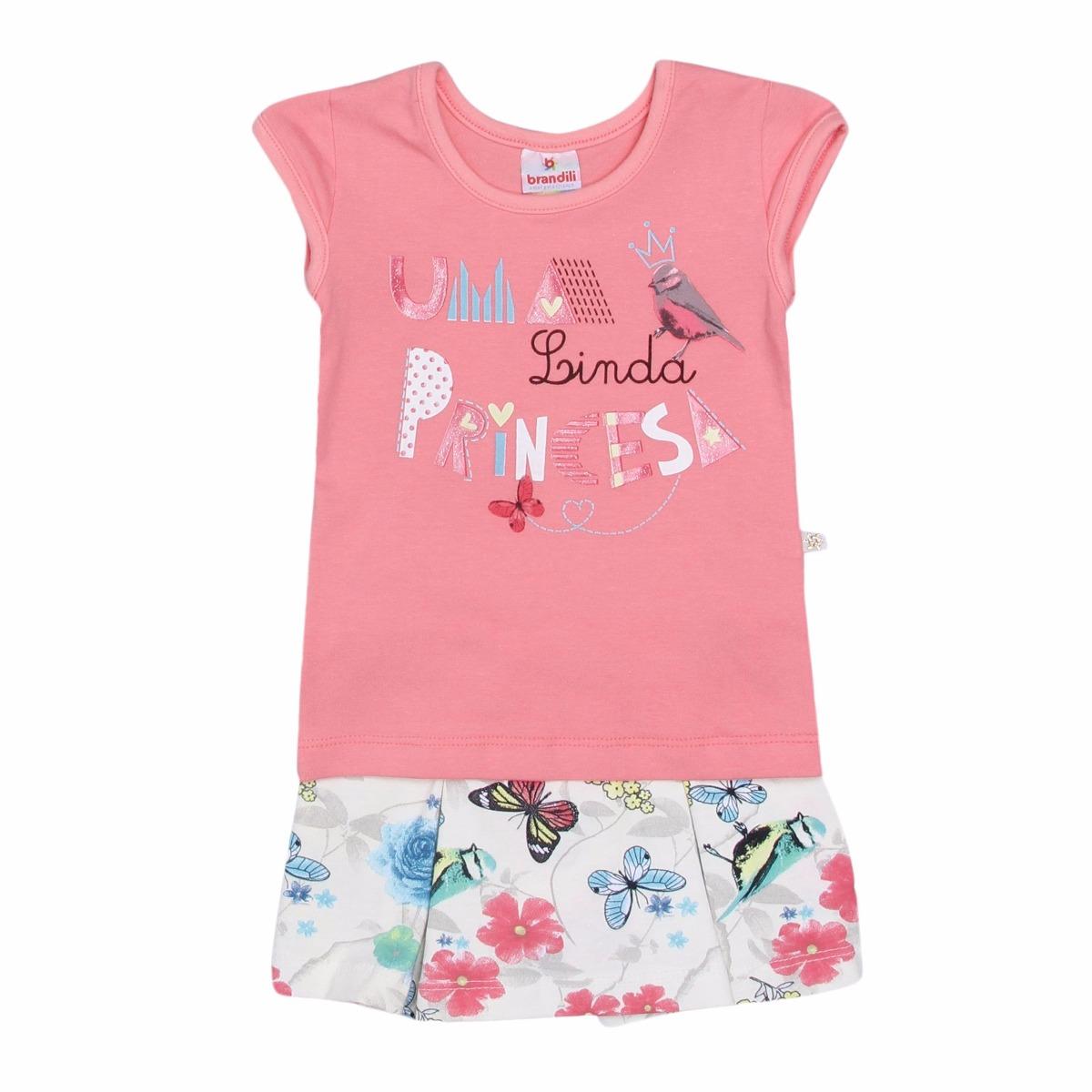 8c93b4fbaf Conjunto Brandili Infantil Blusa + Short Saia Floral - G - R  59