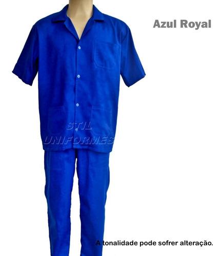 conjunto brim ( jaleco e calça elástico ) uniforme trabalho