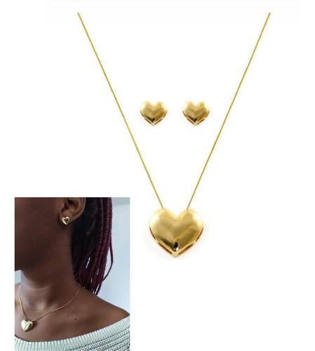 conjunto brinco e colar folheado ouro 18k com garantia