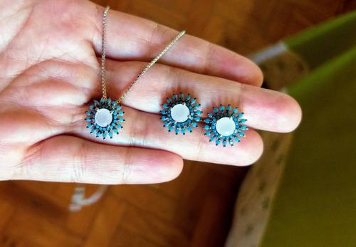 conjunto brinco e colar prata925 com zircônias azuis e rosa