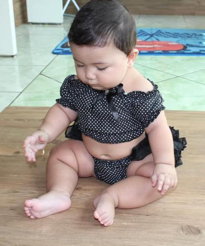 conjunto bunda rica croped ciganinha top tapa fralda menina baby bebe 4 unidades 3 meses a 2 anos atacado fru fru