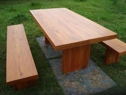 conjunto c/ mesa e bancos de madeira - 100%  peroba rosa
