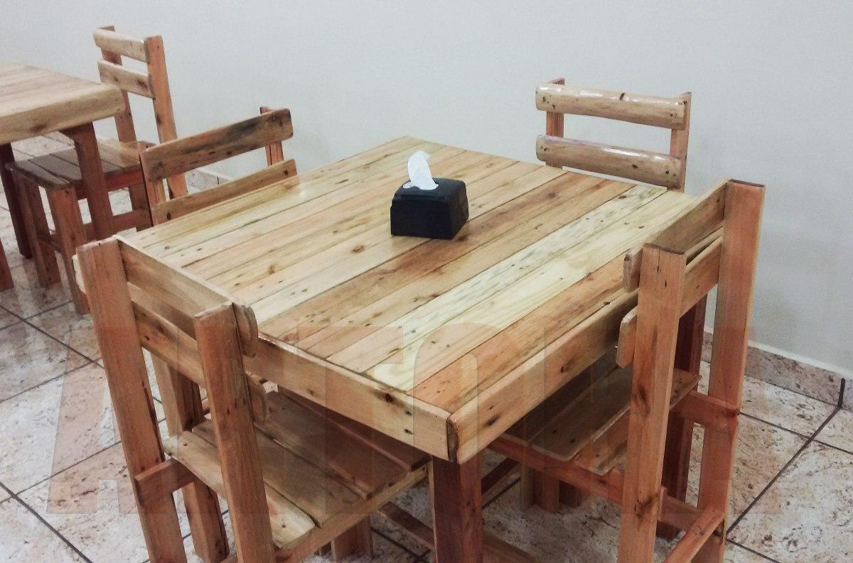 Conjunto cadeira e mesa madeira pallet e demoli o bar e for Mesa de pallet