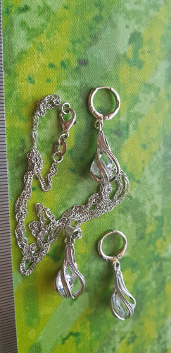 conjunto cadena aros gota zircon/envio gratis a todo chile