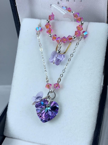 conjunto cadena y anillo lila swarovski elements plata 925