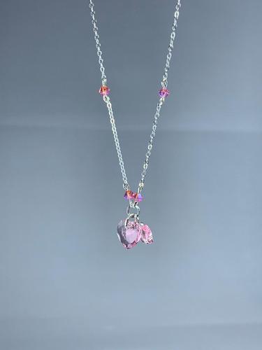 conjunto cadena y anillo rose swarovski elements plata 925