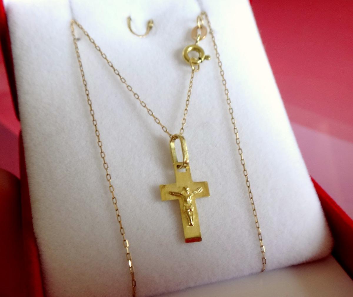 64668b48a6fa conjunto cadena y cruz bautismo comunión oro 18kts jhosua. Cargando zoom.