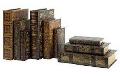 conjunto caixa livro de madeira com 4 peça cofre porta treco