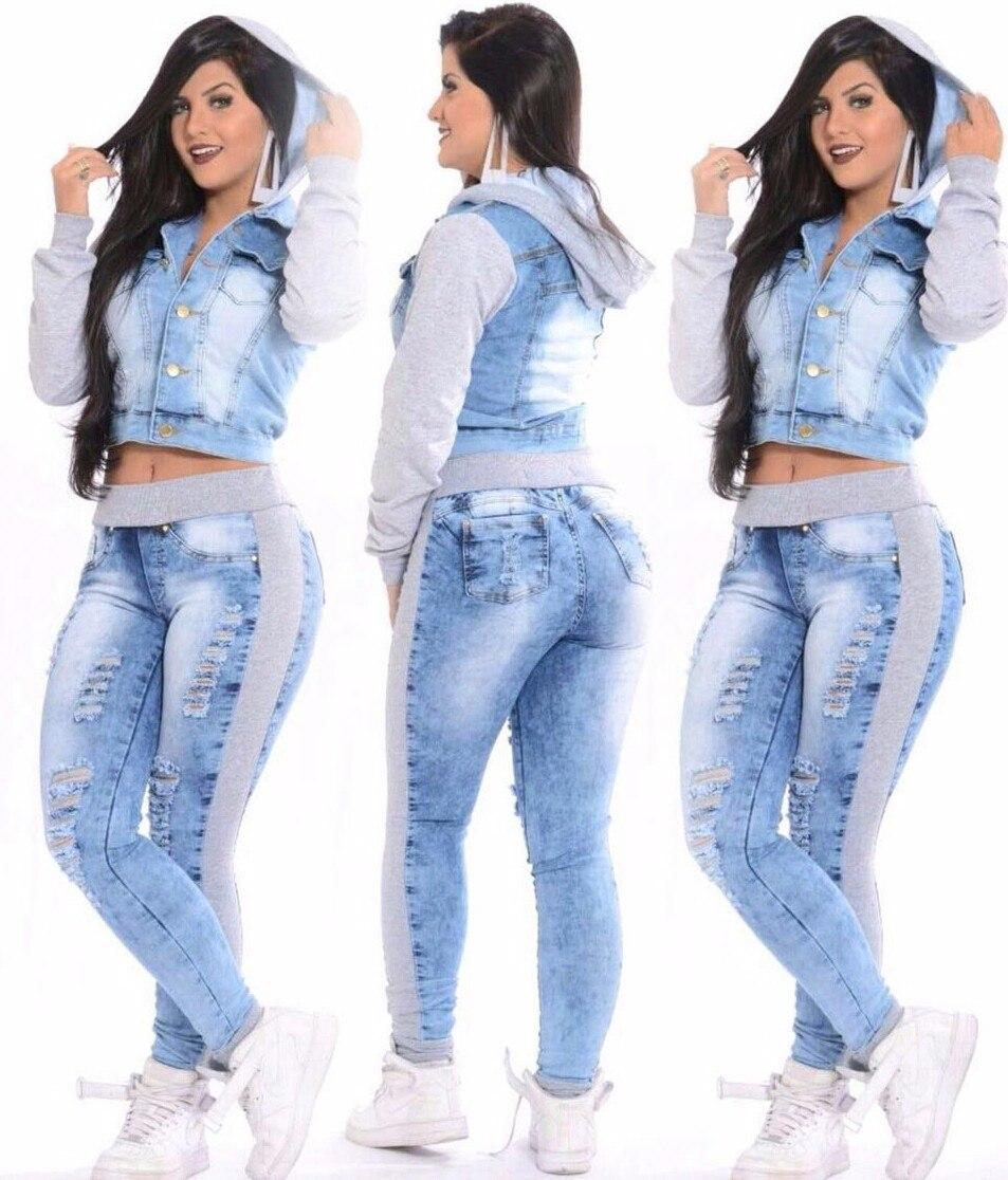f2d7274f39 Conjunto Jaqueta Jeans + Calça Jeans Com Moletom E Capuz - R  160