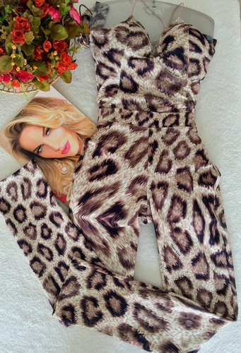 conjunto calça  e body animal print vanessa lima tam 40