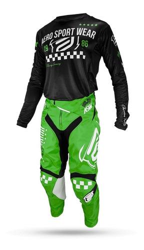 conjunto calça e camisa asw podium glory  - preto e verde
