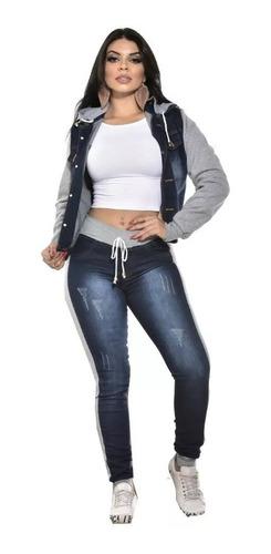 conjunto calça e jaqueta jeans moletom capuz outono inverno