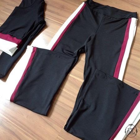 conjunto calça flare e top crooped cintura alta listra fenda