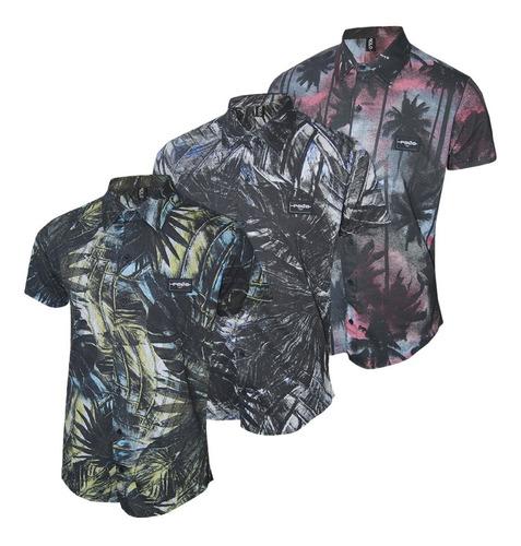 conjunto camisa masculina floral