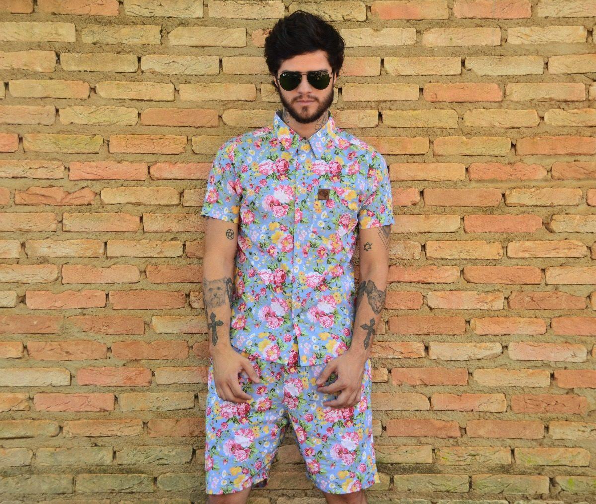 195afc544 conjunto camisa + short floral estampada camisologia. Carregando zoom.