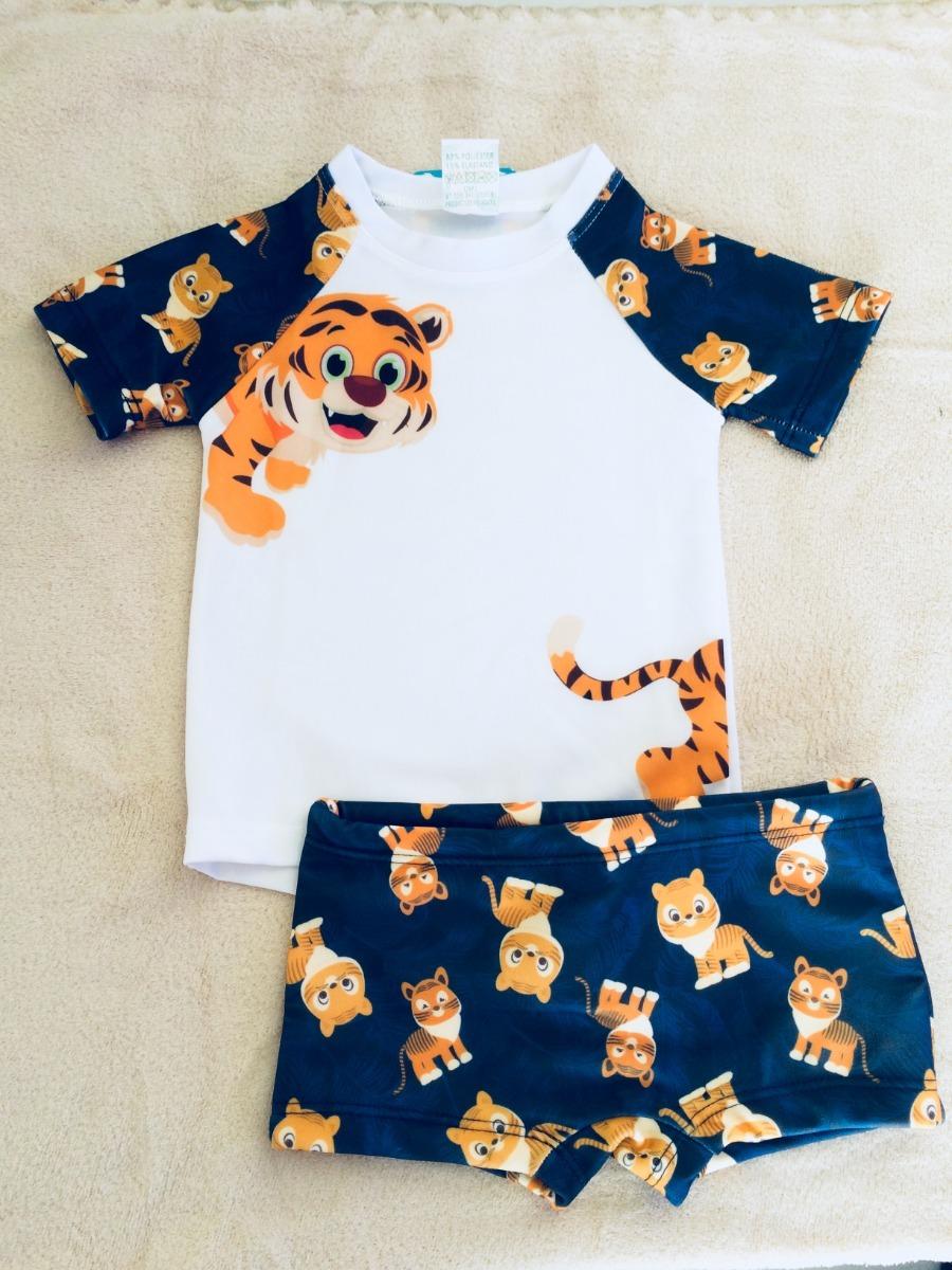 conjunto camisa short proteção solar uv fps+50 bebê infantil. Carregando  zoom. 6ef1e8e6551