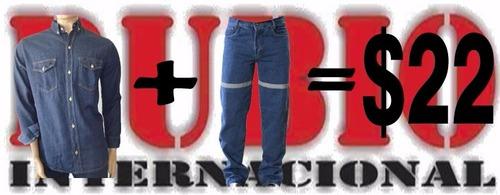 conjunto camisa y pantalon jeans de trabajo
