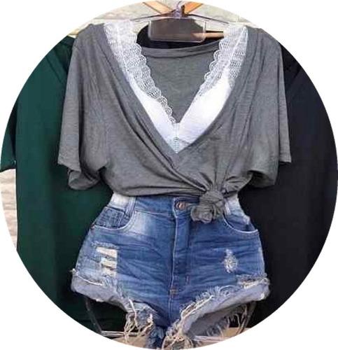 conjunto camiseta c/ cropped renda pavão t shirt podrinha