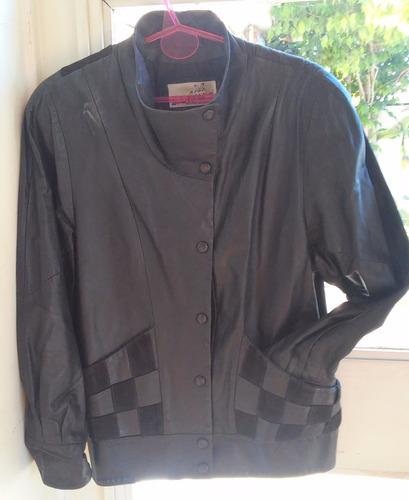 conjunto campera+falda cuero detalles gamuza 42-v crespo