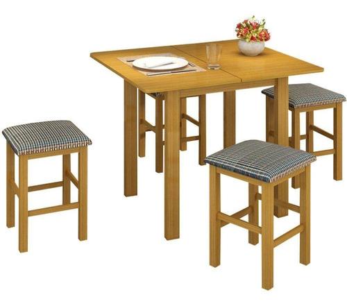 conjunto canção mesa dobrável mdf com 4 banquetas estofadas