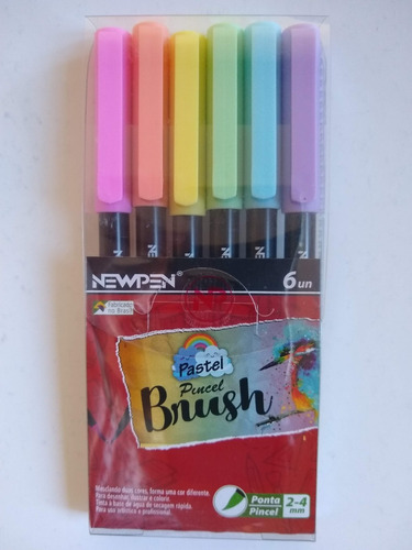 conjunto caneta pincel brush pen newpen estojo