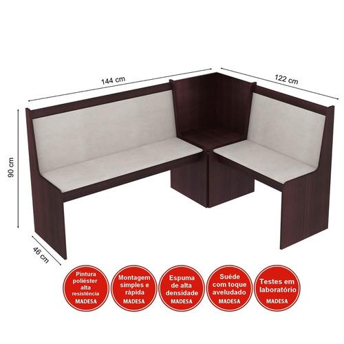 conjunto canto alemão mesa com banco 2 cadeiras dortm bf