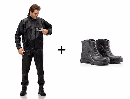 conjunto capa chuva pvc tornado + bota motoqueiro pantaneiro