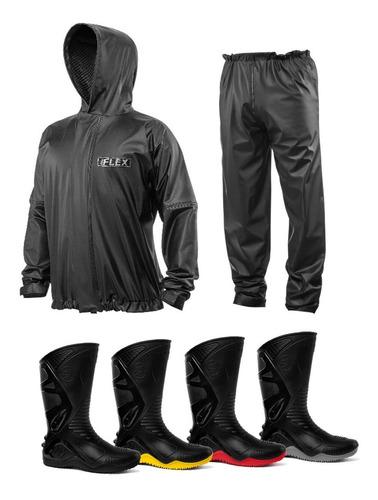 conjunto capa de chuva capuz + bota moto motoqueiro motoboy