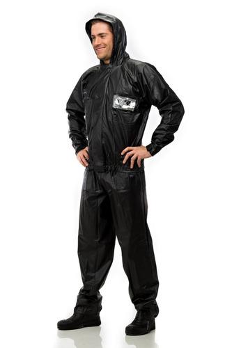 conjunto capa de chuva impermeável pvc motoqueiro/motoboy
