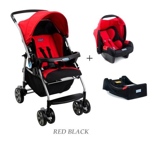 conjunto carrinho rio k + bebe conforto + base burigotto red