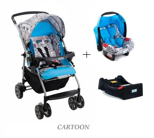 conjunto carrinho rio k c/ bebe conforto + base burigotto